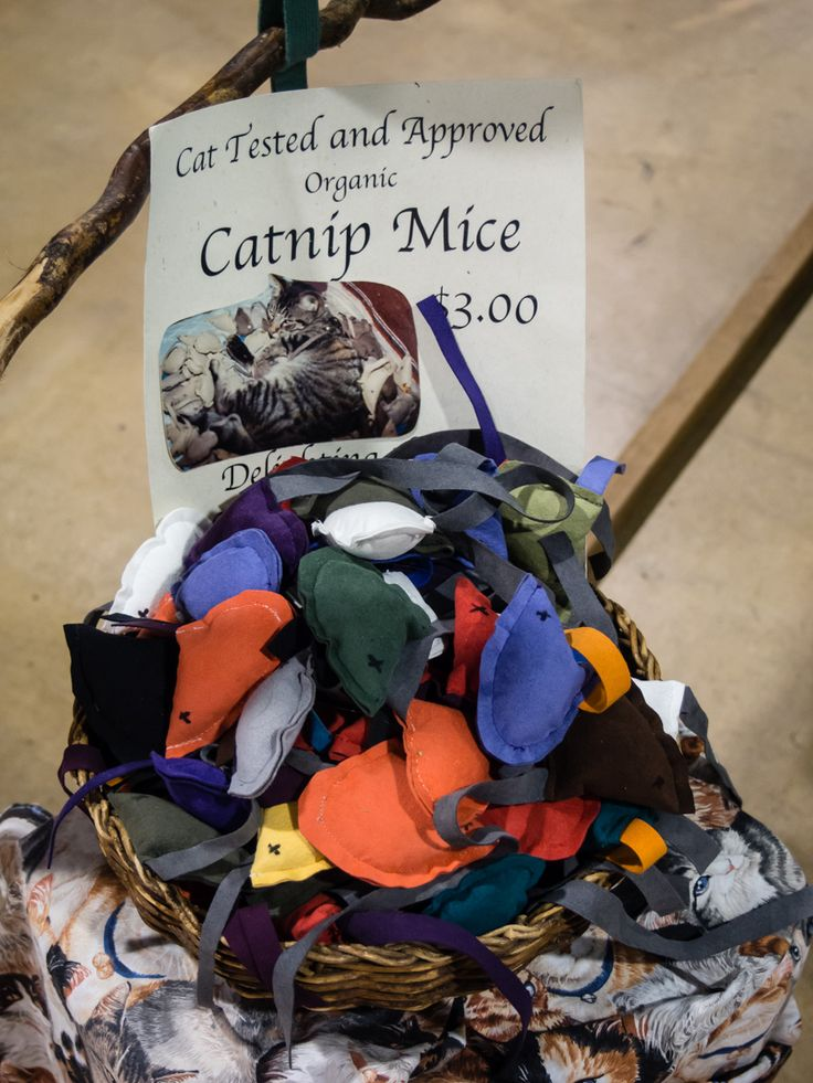 Cat tested and approved, catnip mice from Sue Theolass, Lavender Moon, Holiday Plaza #122. See http://www.holidaymarket.org for shopping info