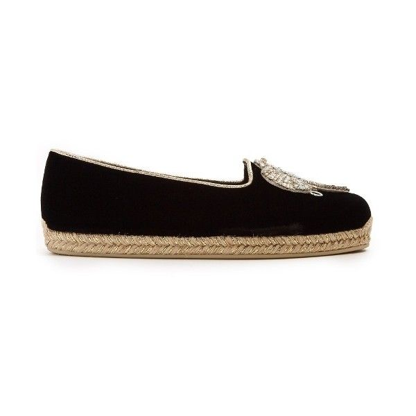 Christian Louboutin Noemie Playa 15 embroidered velvet espadrilles ($825) ❤ liked on Polyvore featuring shoes, sandals, black, velvet shoes, velvet sandals, black espadrille sandals, embroidered sandals and black espadrilles
