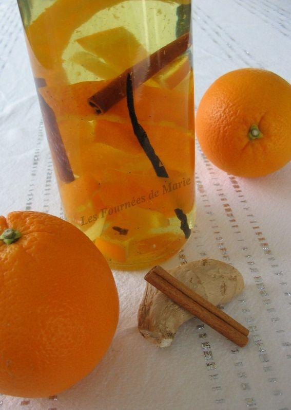 : Rhum arrangé orange et épices 1L de rhum agricole  1 orange non traitée  2 bâtons de cannelle  1 gousse de vanille  3 morceaux de gingembre frais  2 à 3 clous de girofle  2 cuil. à soupe de sirop de sucre de canne (ou de miel)
