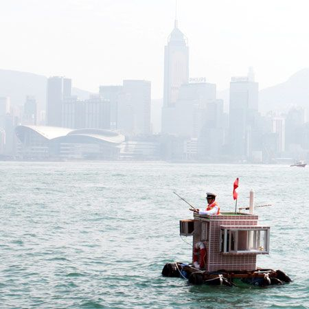 Hong Kong artist Kacey Wong created a tiny floating house as part of the Hong Kong & Shenzhen bi-city Biennale of Urbanism/Architecture