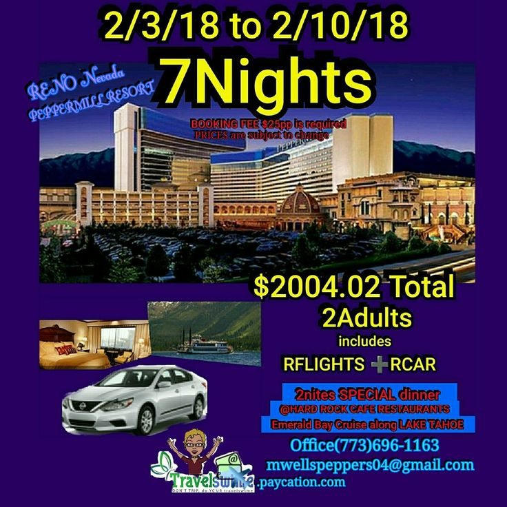 OMG!!!   UNBELIEVABLE!!! NON-STOP ROUND-TRIP FLIGHTS, FREE shuttle to CAR RENTAL(fullsize), SPACIOUS room at a 5🌟s RESORT SPA(7Nights), reserved 2nights dinner at HARD ROCK CAFE RESTAURANT... plus a 2hour sight seeing EMERALD BAY CRUISE around LAKE TAHOE!!!  All this and PAYMENT PLANs AVAILABLE!!! Let me BOOK THIS for you😎 Dates can be changed. travelswtme.paycation.com