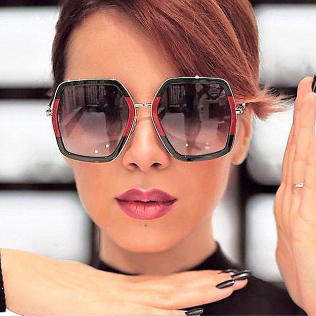b76f9a0914b 2018 NEW Oversized Square Sunglasses Women Luxury Brand Designer Vintage  Sunglass Fashion Big Frame Sun Glasses