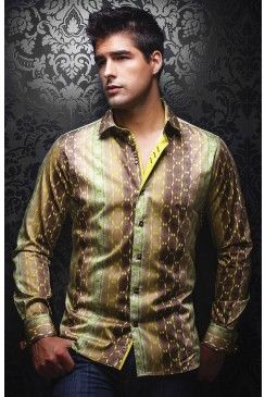 Find this AU NOIR Ambrosia green men's shirt at www.mensdressshirts.ca