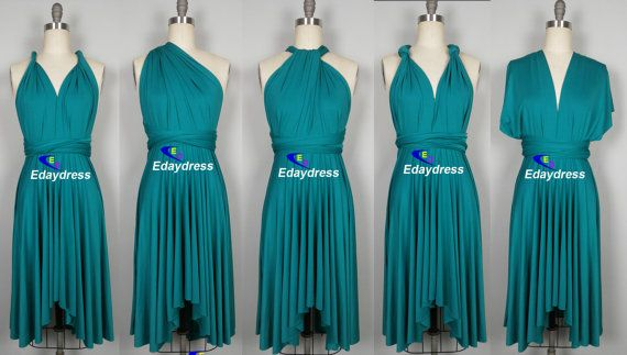"""Multiway asymmetrical Front and Back High and by Dresslongbridal T52 Teal, waist 20-36"""" is $33.90 waist 37-48"""" is $51.50"""