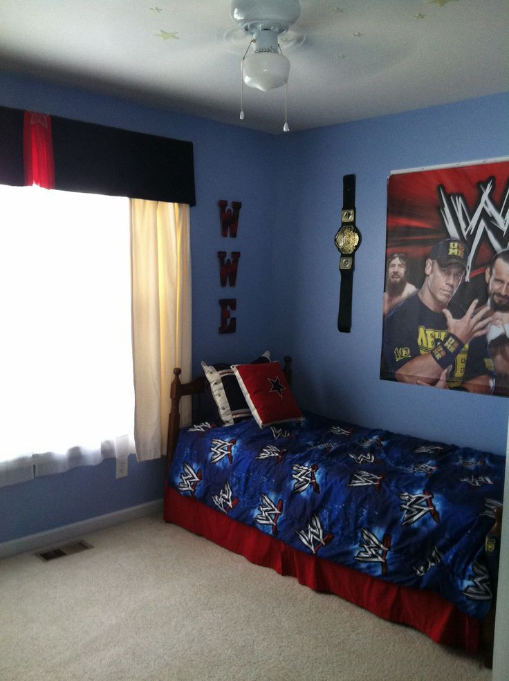 Pic2:  Evan's WWE bedroom #wwe #wrestling (More pics of his room in my album)