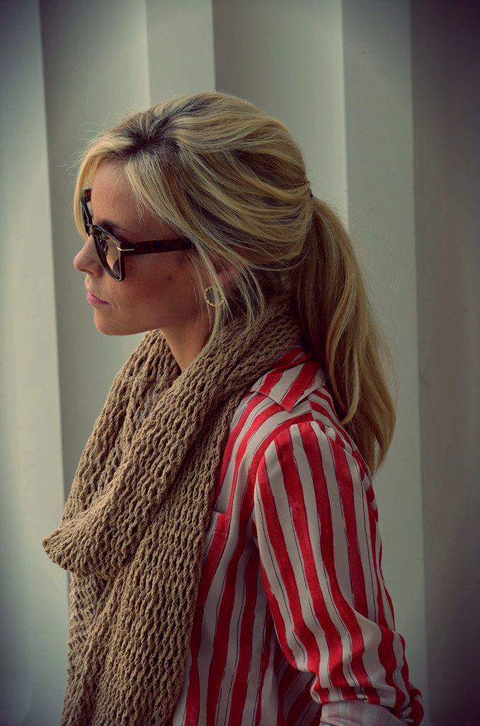 Red and white stripes with the bulky cable knit scarf. :)