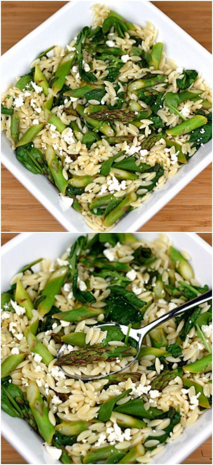 Lemon Orzo Salad with Asparagus, Spinach, and Feta on twopeasandtheirpod.com. Love this fresh and healthy salad! #salad #vegetarian