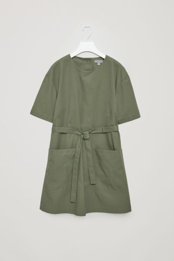 COS image 2 of Dress with back buttons in Sage Green