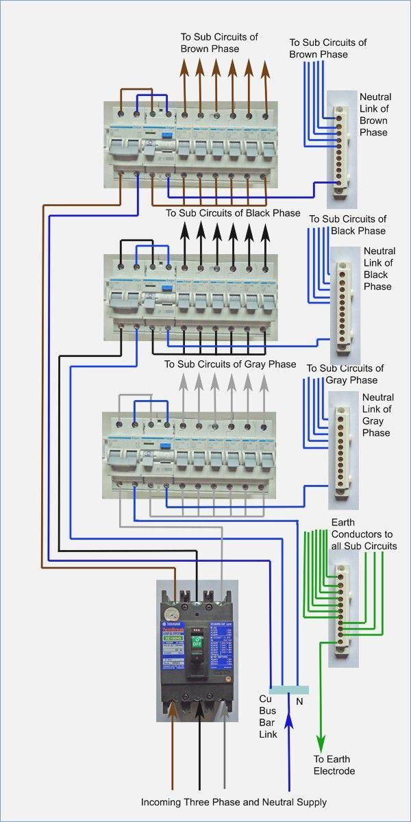 3 Phase Wire Diagram : phase, diagram, Phase, Distribution, Board, Wiring, Diagram, Electrical, Wiring,, Basic