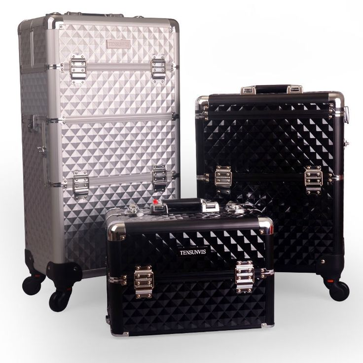 380.00$  Watch here - http://alifmw.worldwells.pw/go.php?t=32791396391 - TENSUNVIS aluminum professional makeup trolley case l wheels trolley cosmetic box makeup case the best beauty case black