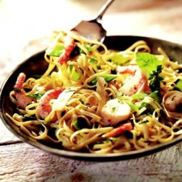 Scallops & Shrimp with Linguine Recipe