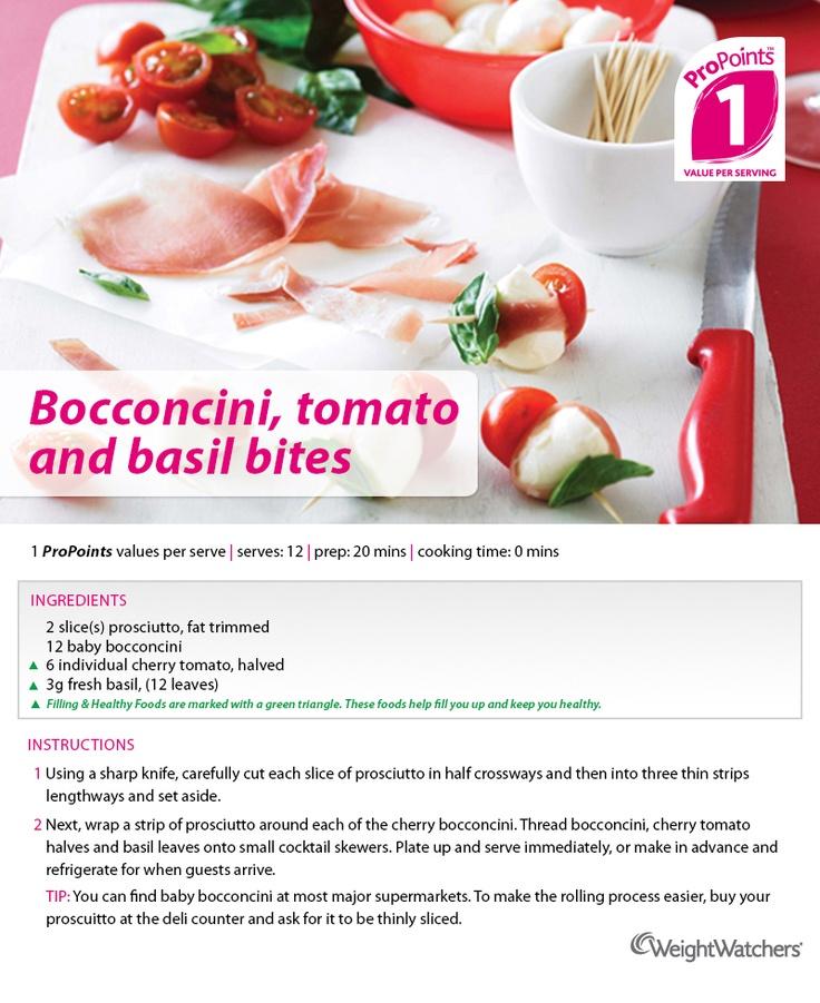 Bocconcini, tomato and basil bites