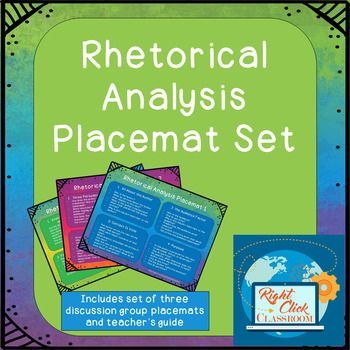 FREEBIE! Set of 3 Small Discussion Group Placemats, Teacher's Guide and TOU to use with almost any text. Each placemat has four sets of questions that challenge the students to dive deeply into a text. Students are asked to explore context, audience, author's purpose, rhetorical devices, text structure and more. #Rhetoric #CloseReading