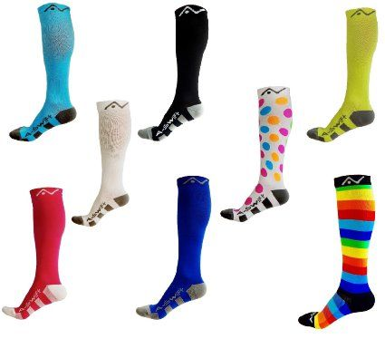Amazon.com: Performance Compression Socks (1 pair) for Women and Men by A-Swift - Best Athletic Compression Socks - For Running Sports Crossfit Flight Travel - Medical Graduated Nursing Compression Socks - Suits Nurses Maternity Pregnancy Shin Splints - Below Knee High - Assorted Colors & Patterns: Sports & Outdoors