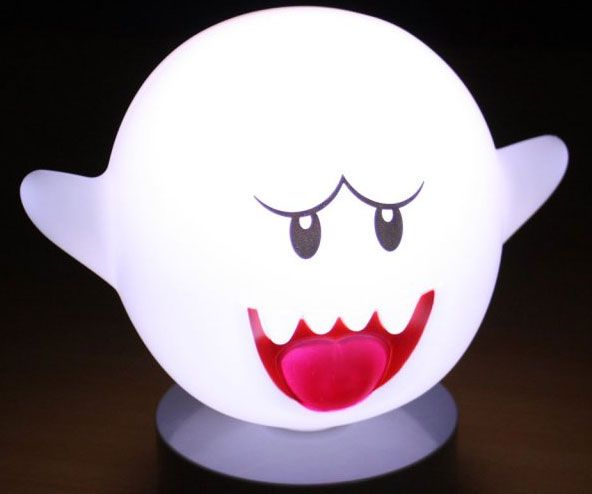 Everyone's favorite ghost has escaped the haunted mansion, but fear not because he's one of the good guys now! Upon entering a dark room, the Super Mario motion sensor Boo lamp begins to shine and emits a pleasant glow that's anything but scary.