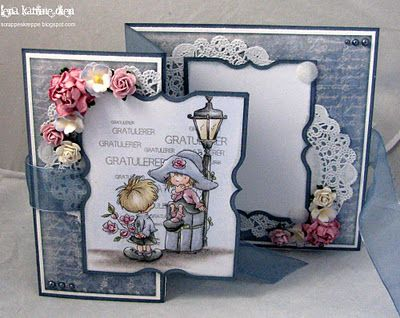 by Lena Katrine... Z-Fold Card... love the same die image used on front, inside and back of her cards