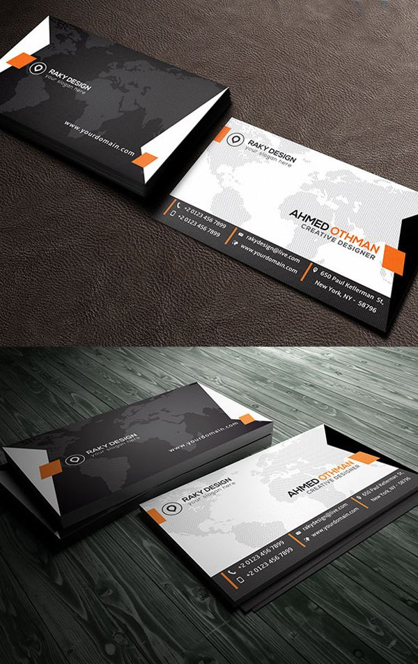 Stylish Corporate Business Card #businesscards #psdtemplates #visitingcard #corporatedesign