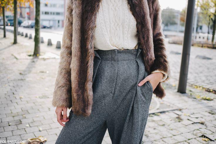 POLIENNE | wearing a LA REDOUTE faux fur knit, MANGO trousers & VILA knit