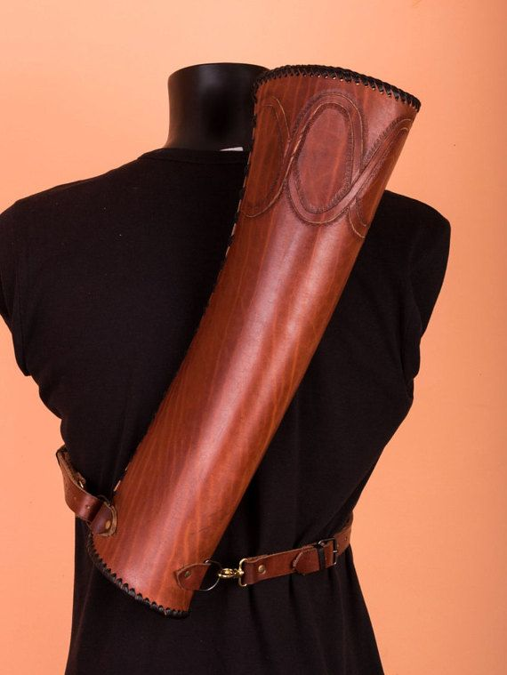 Leather archery quiver leather quiver larp by TirithLeatherCraft