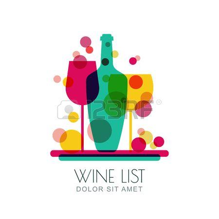 Multicolore astratta illustrazione alla moda di vassoio con bottiglia di vino e due bicchieri. Vector logo modello di progettazione. Concetto per carta dei vini, bar menu, bevande alcoliche.