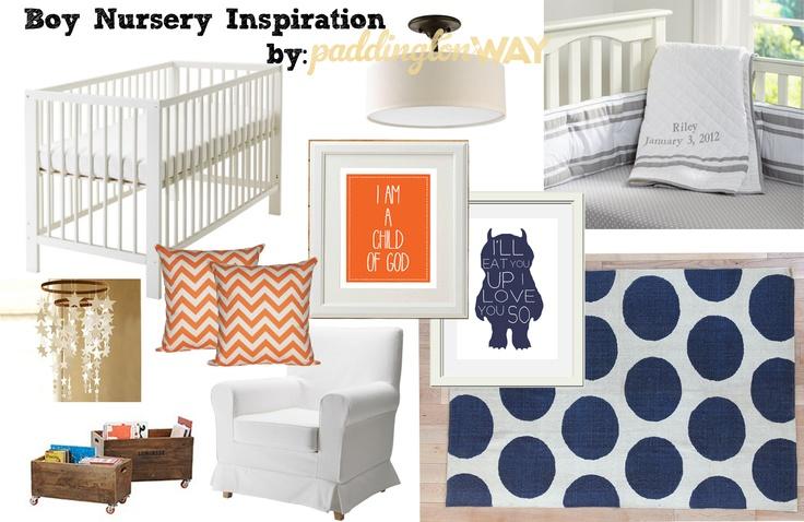 Classic boy [navy blue & orange] nursery. | Paddington Way.