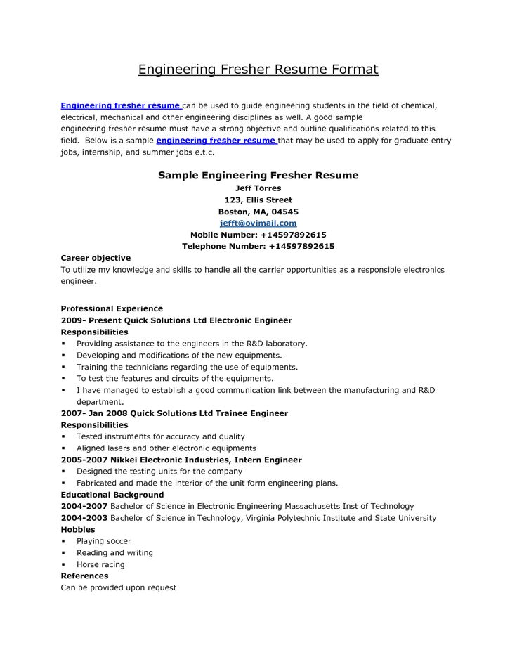 resume formats for fresher engineer resume formats for fresher engineer