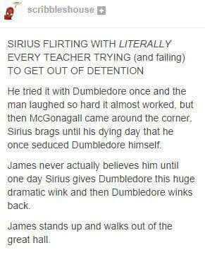 Well, Dumbledore is gay......<<< are you sure?? I never thought that... But I think Sirius really liked the bragging rights.
