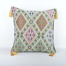 16x16'' Fabric kilim Style pillow green pillow,kilim Pattern Pillow Cover  - $13.00