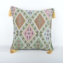 16x16'' Fabric kilim Style pillow green pillow,kilim Pattern Pillow Cover  - $13.00