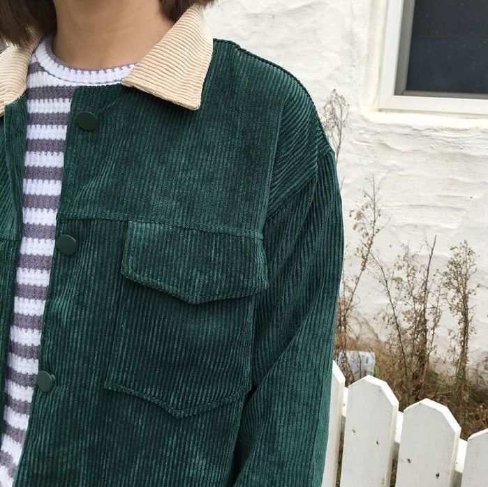 Jolly Club – Corduroy Button Jacket Kfashion Korean fashion Ulzzang Aesthetic Fa…