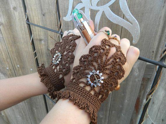 Steampunk Brown Fingerless Gloves. $15.00, via Etsy.