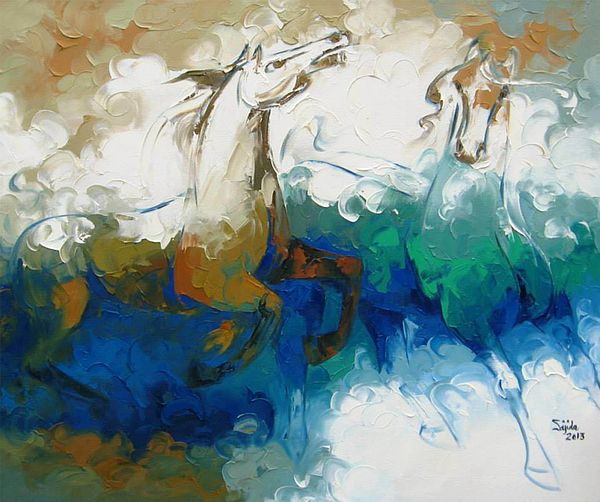 Abstract Horse Art Painting Print by fine artist Sajida Hussain