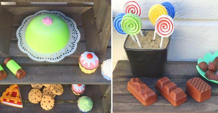 Gjutna bakverk av betong är en given succé när barnen leker affär. Kolla in hur enkelt bloggaren Sofia fick till sina.