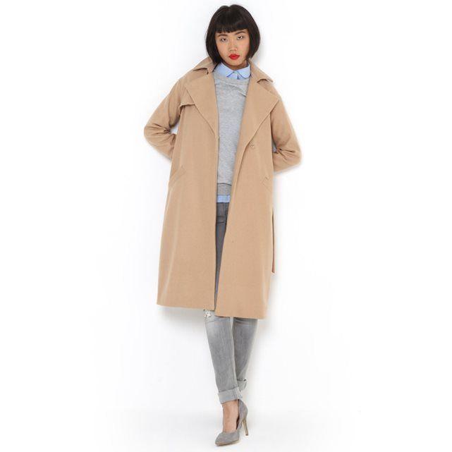 Long Robe-Style Wool Coat R essentiel (Camel)