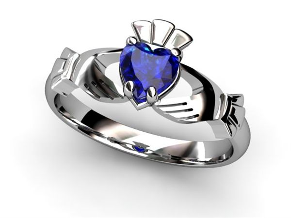 14K White Gold & Sapphire Claddagh Ring