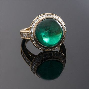Round Cabochon Colombian Emerald Ring ~ M.S. Rau Antiques