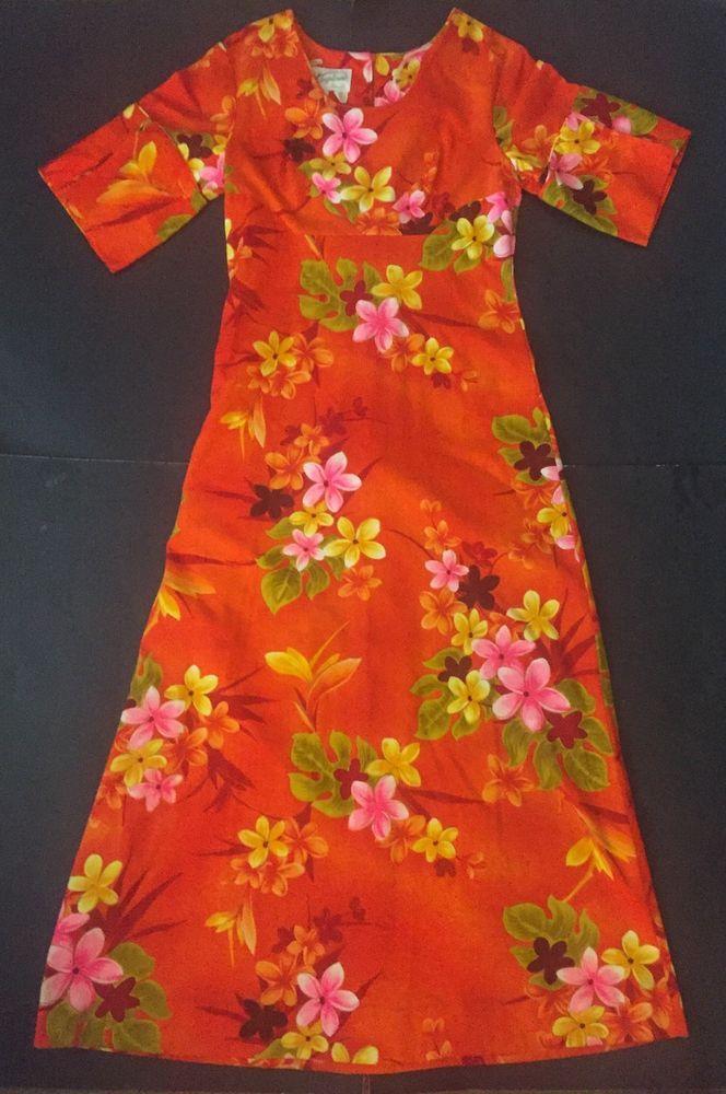 4036b468c262 Vtg Hawaiian Dress Size 10 Bright Orange Floral Tropical Hibiscus Print Long  #Tropicana #Hawaiian