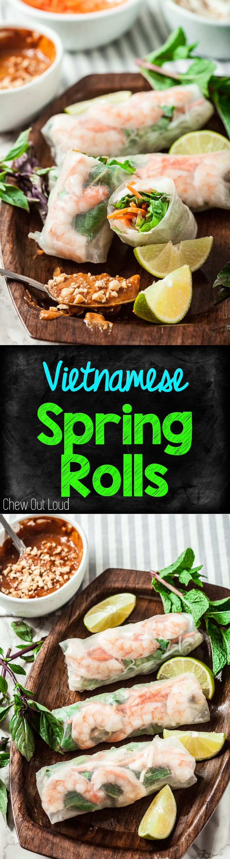 How to Make Vietnamese Spring Rolls! So healthy, light, and deeelish! Amazing peanut dipping sauce. (GF) #glutenfree #gf #vietnamese #springrolls #appetizer www.chewoutloud.com