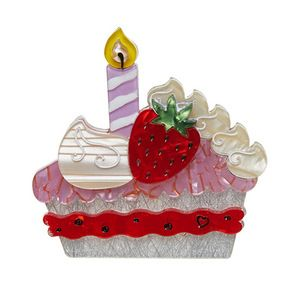 Just One Slice Erstwilder Birthday Cake pie Brooch usa