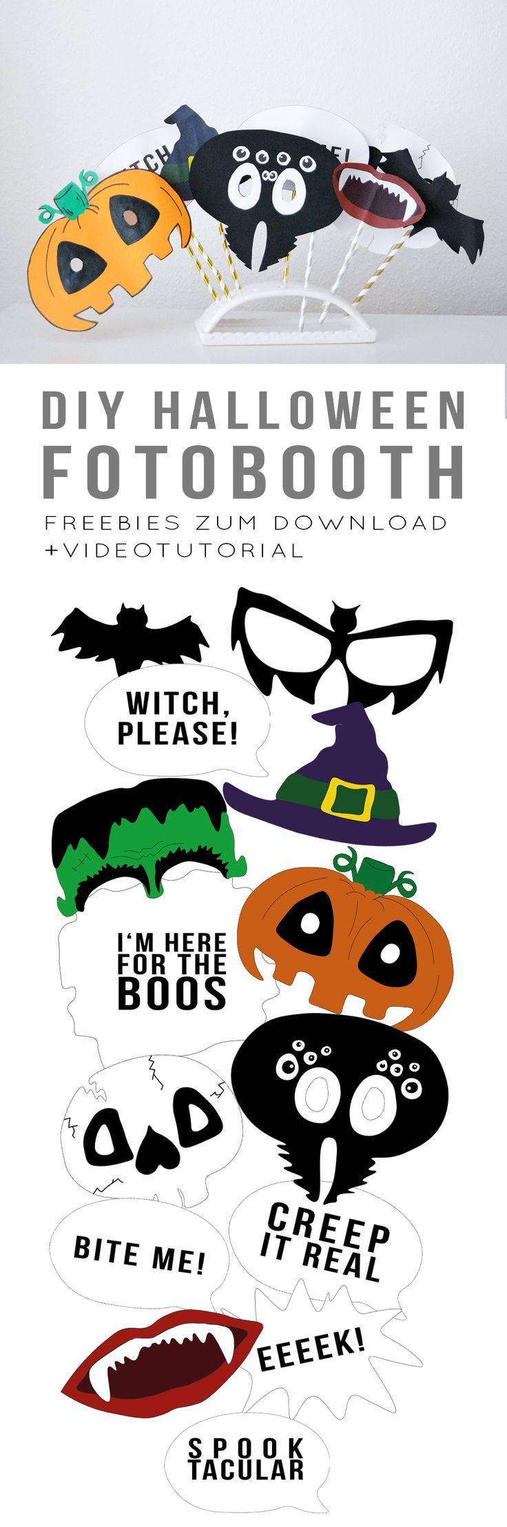 Freebie runterladen, ausdrucken und rumblödeln! Mit diesen Fotoprops für Deine Halloween Fotobooth kannst Du so richtig schöne bescheuerte Partyfotos machen! Schau Dir das Videotutorial an, wenn Du selbst basteln willst, oder lade Dir einfach die Freebie Vorlage auf dem Blog herunter, drucke die Vorlage aus und klebe alles auf Papierstrohhalme. Das DIY ist wirklich super einfach und man kann die Fotoprops auch prima zusammen mit Kindern basteln. Happy Halloween! #halloween