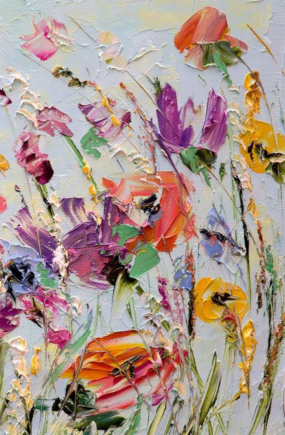 Oil Painting Flowers Palette Knife Painting on Canvas Abstract Flower Painting Custom Living Room Wall Art Color Maria Wettig