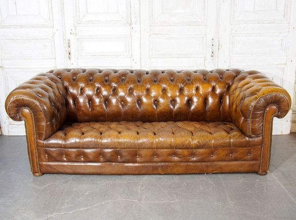 Leather Button Tufted Sofa // English Form // Great wear and character from the mid-20th century