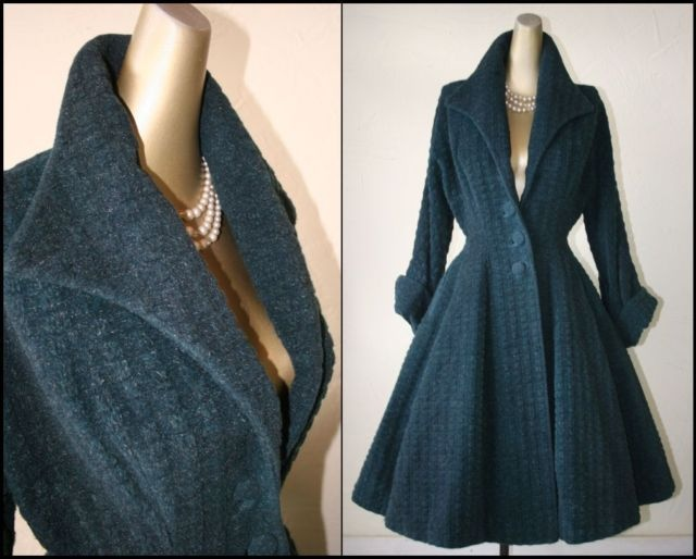 1940 | Green Patterned Wool Princess Fit and Flare by Lilli Ann