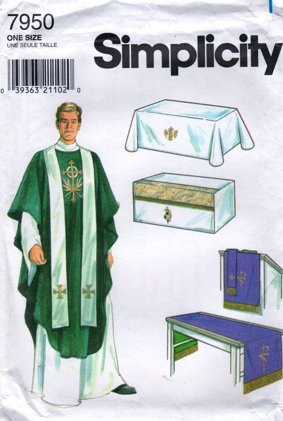 Simplicity 7950 Chasuble Stole Christian Vestments Altar