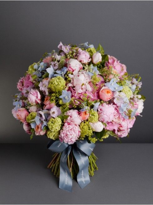 Wild At Heart - ISLAND BOUQUET  - Inspired by our landmark store at the Turquoise Island, this classic bouquet includes sweet scented Sarah Bernhardt peonies, pink hydrangea, lilac and pale blue delphinium, pink garden roses and vibrant lime green guelder rose.