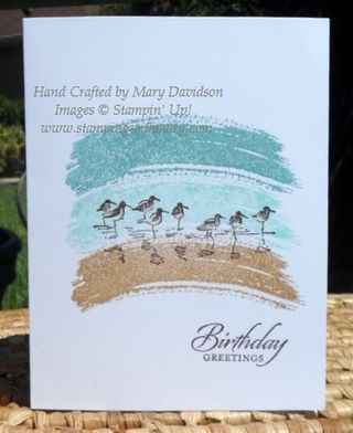 """By Mary Davidson. Stamp the swooshes from """"Work of Art"""" (Stampin' Up) in Baked Brown Sugar, Pool Party and Lost Lagoon. Stamp sandpipers from """"Wetlands"""" (Stampin' Up) and greeting in Chocolate Chip. Easy!"""