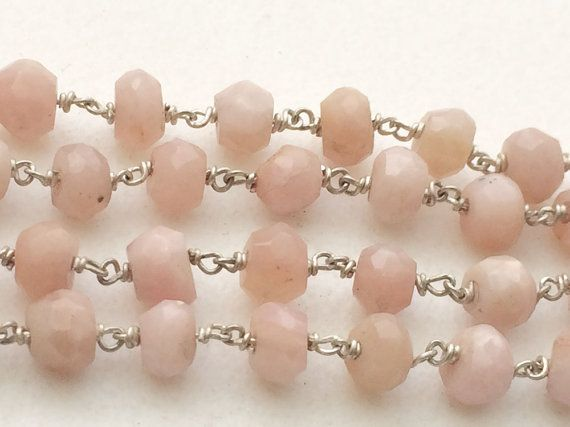 WHOLESALE 5 FEET Pink Opal Faceted Rondelle Beads by gemsforjewels