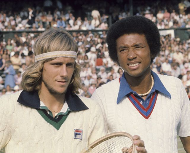 Björn Borg and Arthur Ashe before their Wimbledon men's quarterfinal match on July 2, 1975.