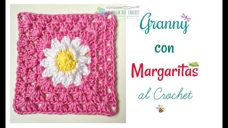 Cómo hacer y unir Grannys square con MARGARITAS al crochet - YouTube