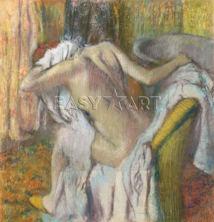After the Bath, Woman drying herself print
